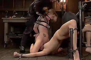 Lesbians licking on device bondage