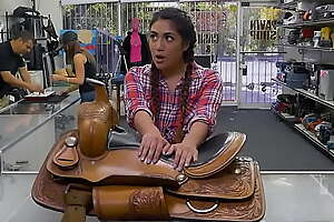 Texas Cowgirl Lexy Bandera Tries To Pawn Her Horse Saddle  But Ends Up Pawning Her Pussy
