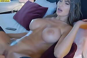 Amazing Busty Brunette Fucks Her Pussy with Sex Toy