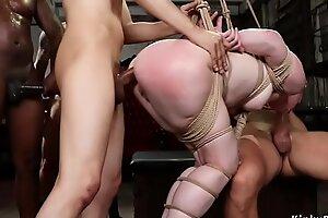 Big ass blonde in interracial gangbang