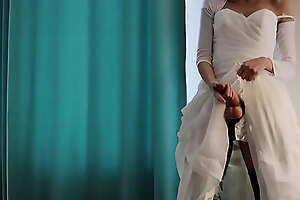 The bride fucked my ass with a thick dildo before the wedding. Femdom