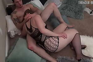 Horny housewives licking each other before sharing a big cock