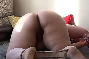 Fat beauty in nylon pantyhose trample underfoot rubber dick and fucks hairy pussy. Foot fetish and masturbation.