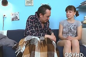 Legal age teenager gives a blow to an old lad
