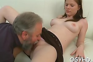 Nice young babe rides old 10-pounder