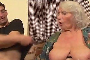 grandson helps grandma