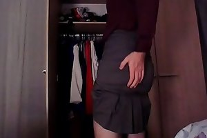 Sexy crossdresser secretary ejaculating just for you in silk and skirt