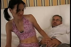 Daddy interrupts his work and take care of my pussy!