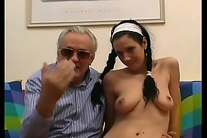 Young girl with braids shagged and filmed by old pig