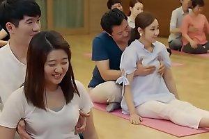 Mirthful yoga duplicity and bosom grabbing
