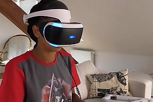 Hot roommates play VR frivolity at the bringing off nearly each other
