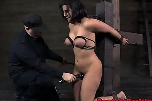 Bigtitted milf orgasms while flogged