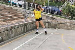 I Was Dared To Play Football With My Lovense Lush On  Watch How I Squirt On My Pants!