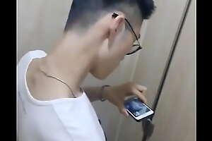 Asian boy wanking