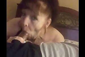 Grandma sucking young cock