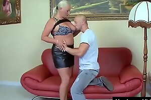 Hot grandma with awesome boobs fucked by y. lad