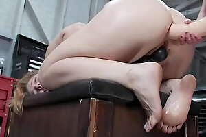 Blonde lesbian anal fucked with glass